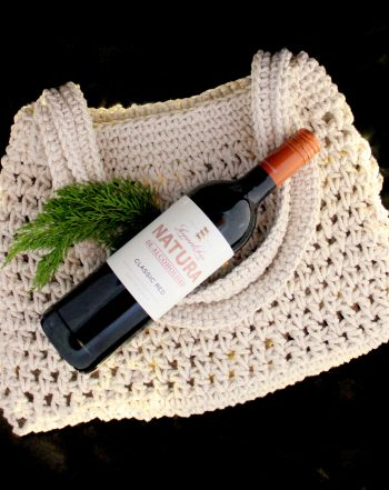 Beach hair and salty air ~ nothing says chill quite like a sunset cheers, barefoot in the sand. 100% Cotton Beach Tote together with a Leopards Leap Natura De-Alcoholised Classic Red Wine.