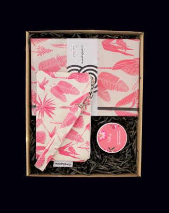 Breathe, bask and blush after a year of uncertainty and stress. Nature brings breathtaking gifts and healing fragrances to restore the tired mind. Spoil your loved one (or yourself) with this blushing botanical gift box - A Love Supreme journal and wristlet complete with an aromatherapy Rose Geranium, Lavender and Peppermint Aromadough Stress ball. Happiness!