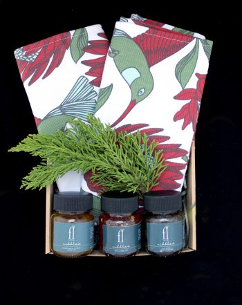 A gorgeous gift set including A love Supreme Tea towel and Jam set is perfect for the artisanal foodie! This set includes a trio of to-die-for tastes - Aloe Blossom, Turmeric and Ginger Jam - perfect as a syrup, paired on a cheese board, pairs well with baked fish and great as a honey substitute. The Gin, onion and sage marmalade is made with onions, sage, spice and all things nice and perfect for any cheese board, breakfast table, canape topping or craft burger. The Chilli Ginger jam and sweet red pepper combo compliments cheese boards, used as salad dressing, top your meat dishes or paired with baked pastries and tarts. YUMM!